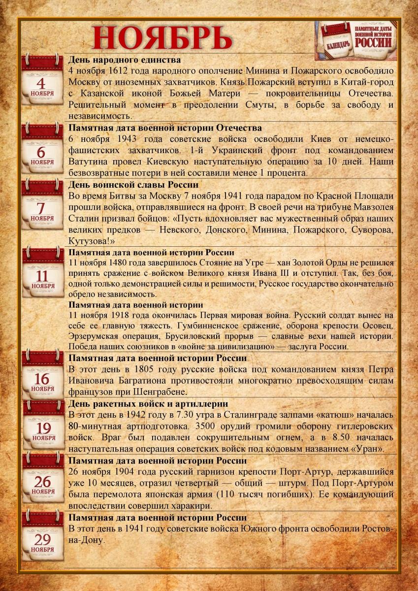 Памятные даты военной истории в ноябре