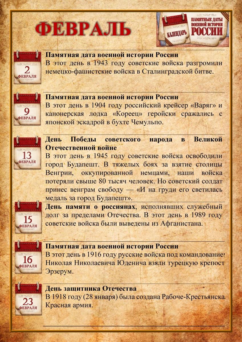 Памятные даты военной истории в феврале