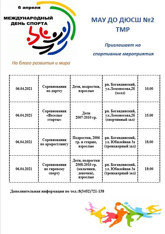 6 апреля соревнования, посвященные Международному Дню спорта