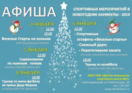 Приглашаем на Новогодние и Рождественские физкультурные мероприятия